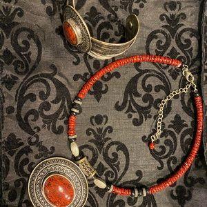 Red necklace and bracelet set